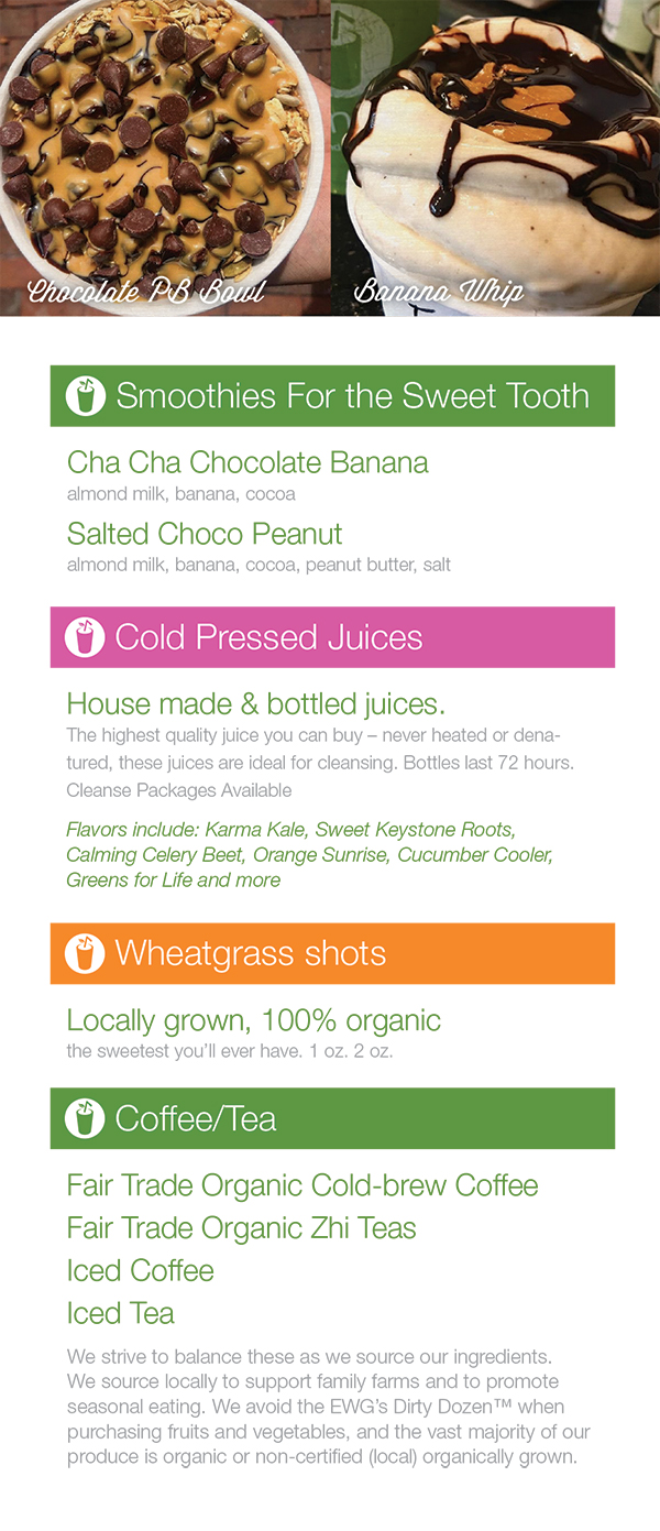 Menu - Greenstraw Smoothies